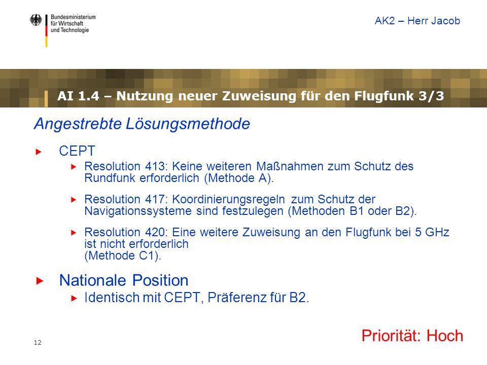 12 AI 1.4 – Nutzung neuer Zuweisung für den Flugfunk 3/3 Angestrebte Lösungsmethode  CEPT  Resolution 413: Keine weiteren Maßnahmen zum Schutz des Rundfunk erforderlich (Methode A).