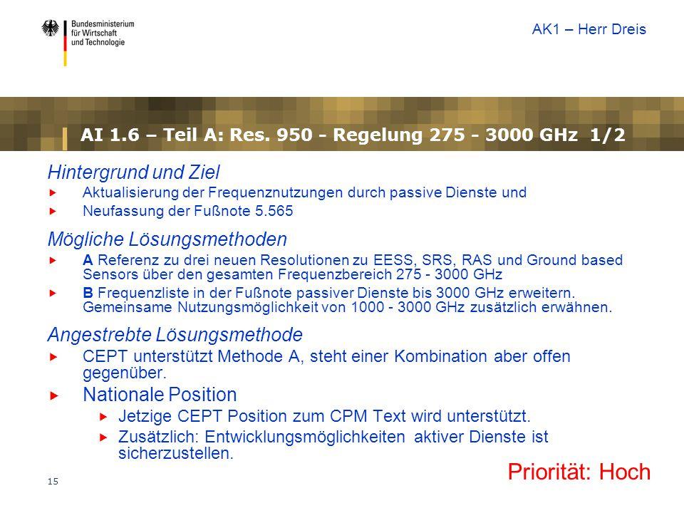 15 AI 1.6 – Teil A: Res. 950 - Regelung 275 - 3000 GHz 1/2 Hintergrund und Ziel  Aktualisierung der Frequenznutzungen durch passive Dienste und  Neu