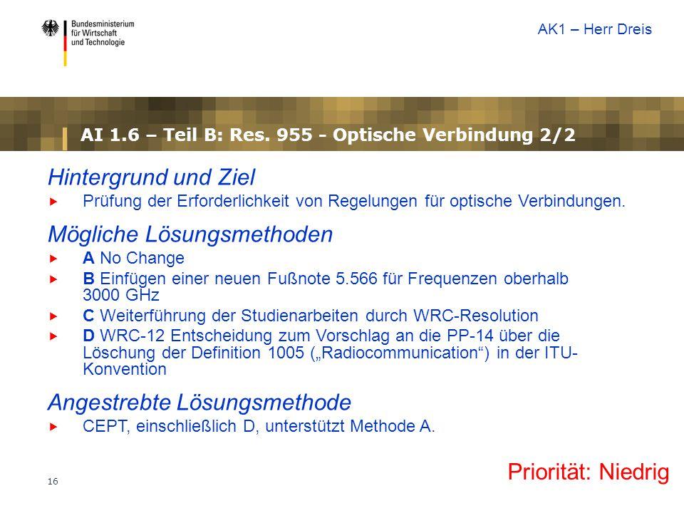 16 AI 1.6 – Teil B: Res. 955 - Optische Verbindung 2/2 Priorität: Niedrig Hintergrund und Ziel  Prüfung der Erforderlichkeit von Regelungen für optis