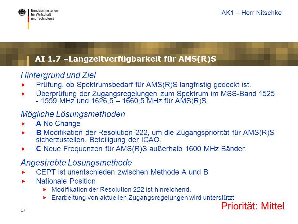 17 AI 1.7 –Langzeitverfügbarkeit für AMS(R)S Hintergrund und Ziel  Prüfung, ob Spektrumsbedarf für AMS(R)S langfristig gedeckt ist.  Überprüfung der