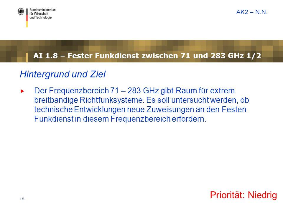 18 AI 1.8 – Fester Funkdienst zwischen 71 und 283 GHz 1/2 Hintergrund und Ziel  Der Frequenzbereich 71 – 283 GHz gibt Raum für extrem breitbandige Ri
