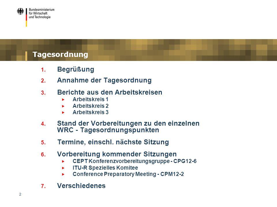2 Tagesordnung 1. Begrüßung 2. Annahme der Tagesordnung 3. Berichte aus den Arbeitskreisen  Arbeitskreis 1  Arbeitskreis 2  Arbeitskreis 3 4. Stand