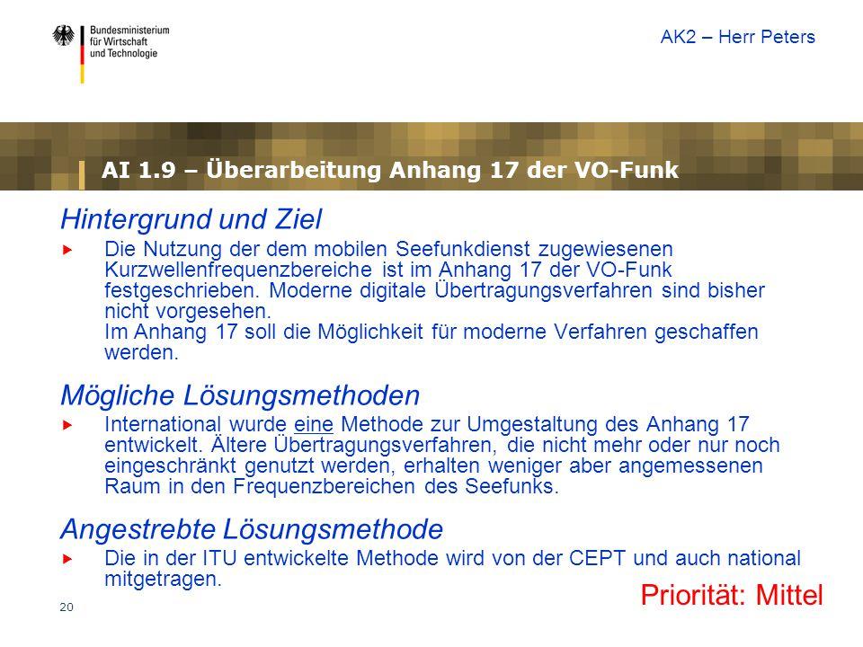 20 AI 1.9 – Überarbeitung Anhang 17 der VO-Funk Hintergrund und Ziel  Die Nutzung der dem mobilen Seefunkdienst zugewiesenen Kurzwellenfrequenzbereiche ist im Anhang 17 der VO-Funk festgeschrieben.