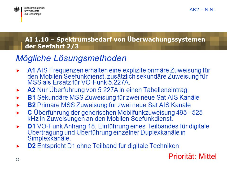22 AI 1.10 – Spektrumsbedarf von Überwachungssystemen der Seefahrt 2/3 Mögliche Lösungsmethoden  A1 AIS Frequenzen erhalten eine explizite primäre Zuweisung für den Mobilen Seefunkdienst, zusätzlich sekundäre Zuweisung für MSS als Ersatz für VO-Funk 5.227A.