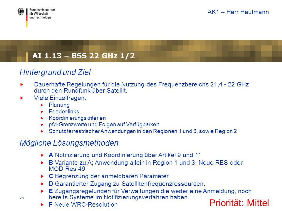 26 AI 1.13 – BSS 22 GHz 1/2 Priorität: Mittel Hintergrund und Ziel  Dauerhafte Regelungen für die Nutzung des Frequenzbereichs 21,4 - 22 GHz durch den Rundfunk über Satellit.