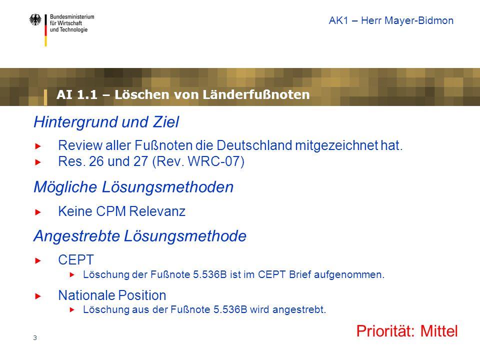 3 AI 1.1 – Löschen von Länderfußnoten Hintergrund und Ziel  Review aller Fußnoten die Deutschland mitgezeichnet hat.  Res. 26 und 27 (Rev. WRC-07) M