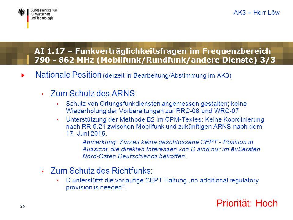 36 AI 1.17 – Funkverträglichkeitsfragen im Frequenzbereich 790 - 862 MHz (Mobilfunk/Rundfunk/andere Dienste) 3/3  Nationale Position (derzeit in Bear