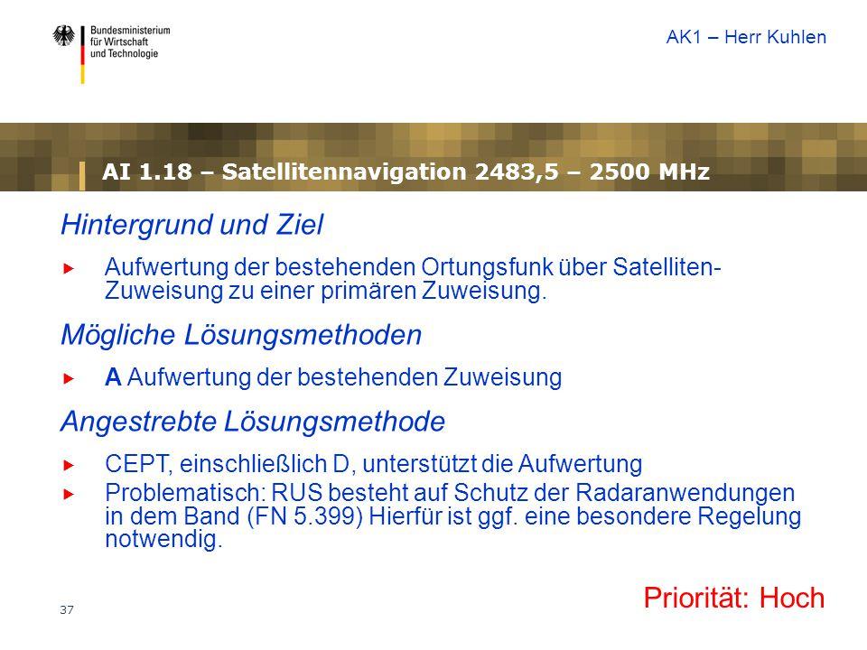 37 AI 1.18 – Satellitennavigation 2483,5 – 2500 MHz Priorität: Hoch Hintergrund und Ziel  Aufwertung der bestehenden Ortungsfunk über Satelliten- Zuweisung zu einer primären Zuweisung.
