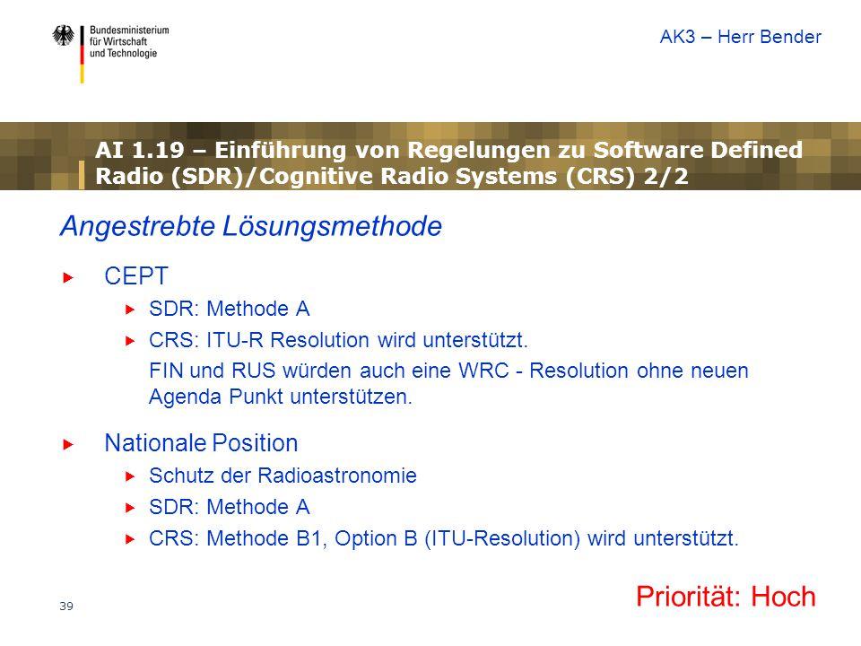 39 Angestrebte Lösungsmethode  CEPT  SDR: Methode A  CRS: ITU-R Resolution wird unterstützt. FIN und RUS würden auch eine WRC - Resolution ohne neu