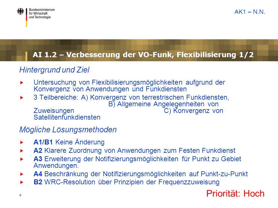4 AI 1.2 – Verbesserung der VO-Funk, Flexibilisierung 1/2 Hintergrund und Ziel  Untersuchung von Flexibilisierungsmöglichkeiten aufgrund der Konverge