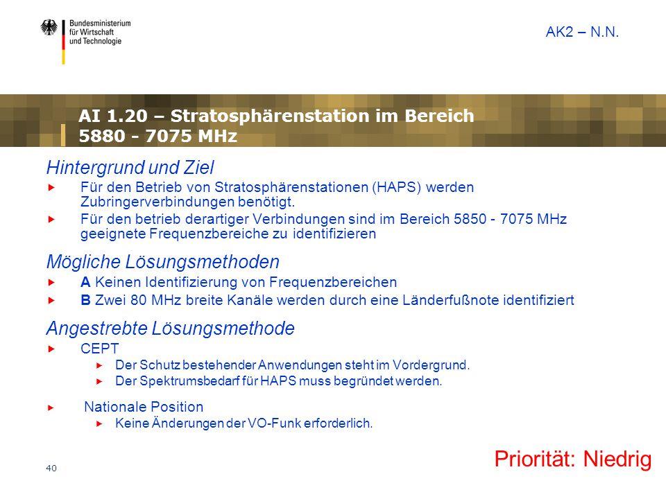 40 AI 1.20 – Stratosphärenstation im Bereich 5880 - 7075 MHz Hintergrund und Ziel  Für den Betrieb von Stratosphärenstationen (HAPS) werden Zubringer