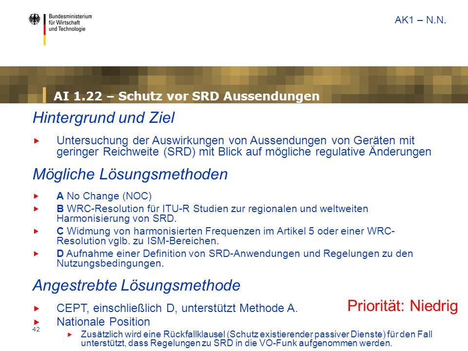 42 AI 1.22 – Schutz vor SRD Aussendungen Priorität: Niedrig Hintergrund und Ziel  Untersuchung der Auswirkungen von Aussendungen von Geräten mit geri