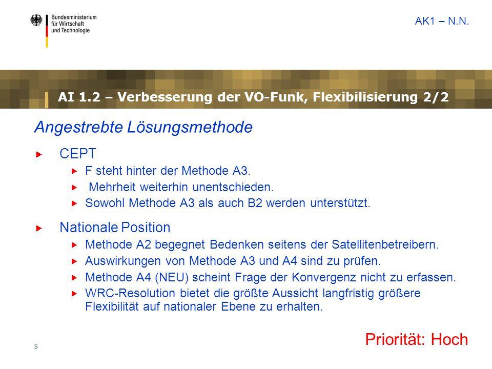 5 AI 1.2 – Verbesserung der VO-Funk, Flexibilisierung 2/2 Angestrebte Lösungsmethode  CEPT  F steht hinter der Methode A3.  Mehrheit weiterhin unen