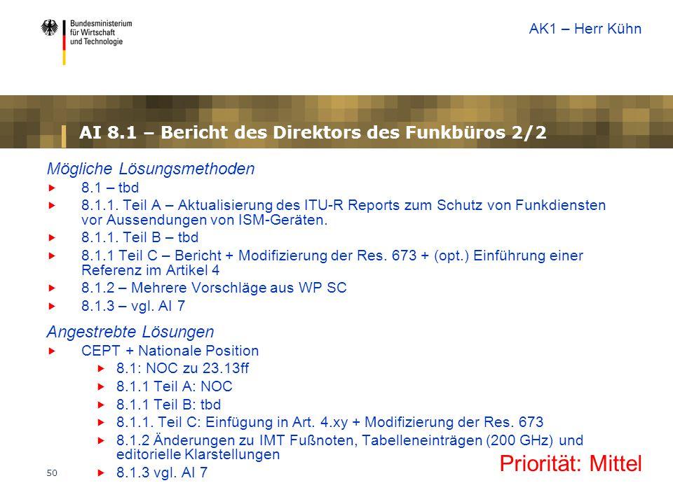 50 AI 8.1 – Bericht des Direktors des Funkbüros 2/2 Mögliche Lösungsmethoden  8.1 – tbd  8.1.1. Teil A – Aktualisierung des ITU-R Reports zum Schutz