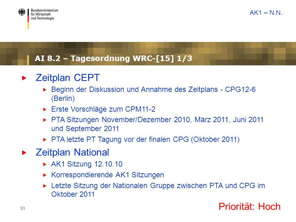 51 AI 8.2 – Tagesordnung WRC-[15] 1/3  Zeitplan CEPT  Beginn der Diskussion und Annahme des Zeitplans - CPG12-6 (Berlin)  Erste Vorschläge zum CPM1