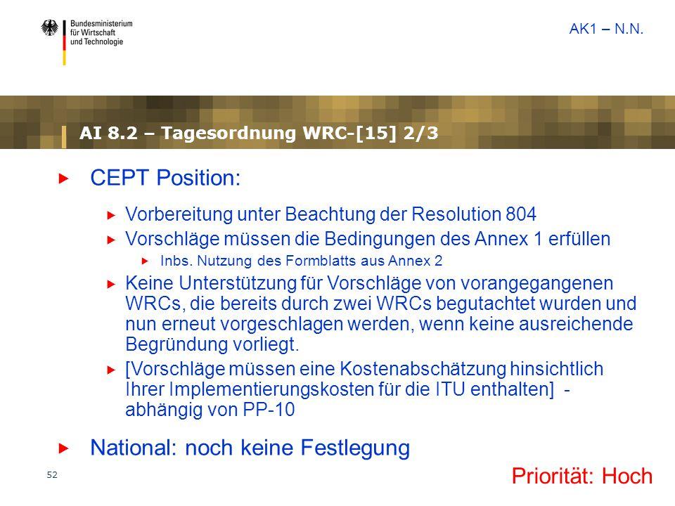 52 AI 8.2 – Tagesordnung WRC-[15] 2/3  CEPT Position:  Vorbereitung unter Beachtung der Resolution 804  Vorschläge müssen die Bedingungen des Annex 1 erfüllen  Inbs.