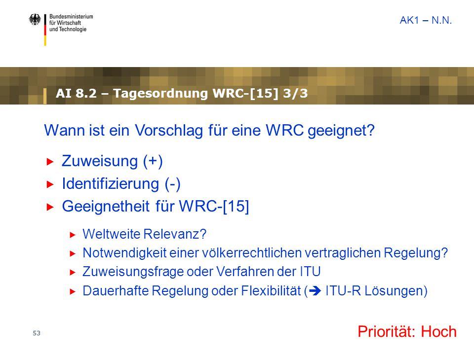 53 AI 8.2 – Tagesordnung WRC-[15] 3/3 Wann ist ein Vorschlag für eine WRC geeignet?  Zuweisung (+)  Identifizierung (-)  Geeignetheit für WRC-[15]