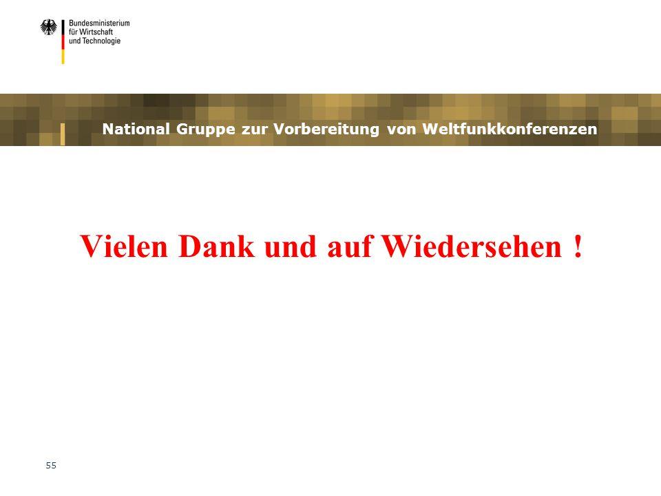 55 National Gruppe zur Vorbereitung von Weltfunkkonferenzen Vielen Dank und auf Wiedersehen !