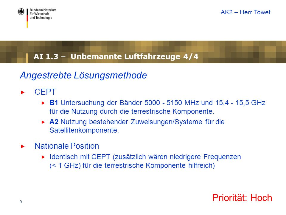50 AI 8.1 – Bericht des Direktors des Funkbüros 2/2 Mögliche Lösungsmethoden  8.1 – tbd  8.1.1.
