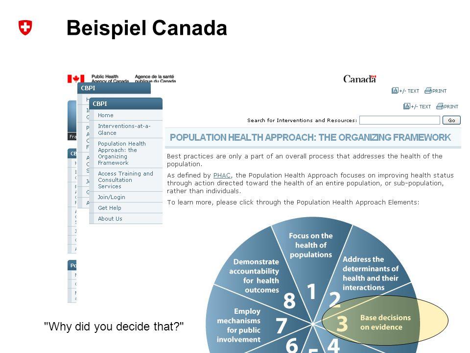 6 Bundesamt für Sport BASPO Ressort Bewegung und Gesundheit Beispiel Canada Why did you decide that