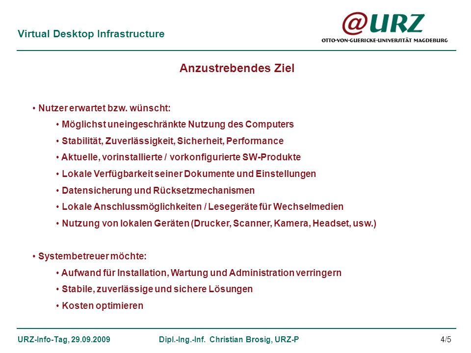 Virtual Desktop Infrastructure URZ-Info-Tag, 29.09.2009Dipl.-Ing.-Inf. Christian Brosig, URZ-P Anzustrebendes Ziel Nutzer erwartet bzw. wünscht: Mögli