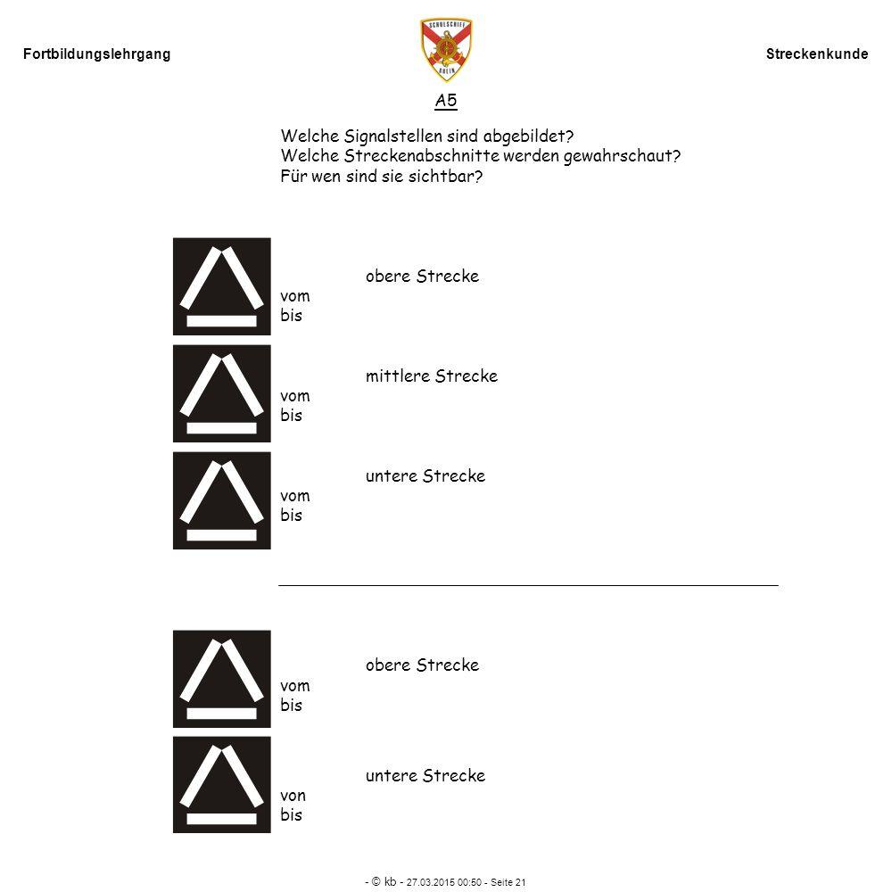 Fortbildungslehrgang Streckenkunde - © kb - 27.03.2015 00:52 - Seite 21 A5 Welche Signalstellen sind abgebildet? Welche Streckenabschnitte werden gewa