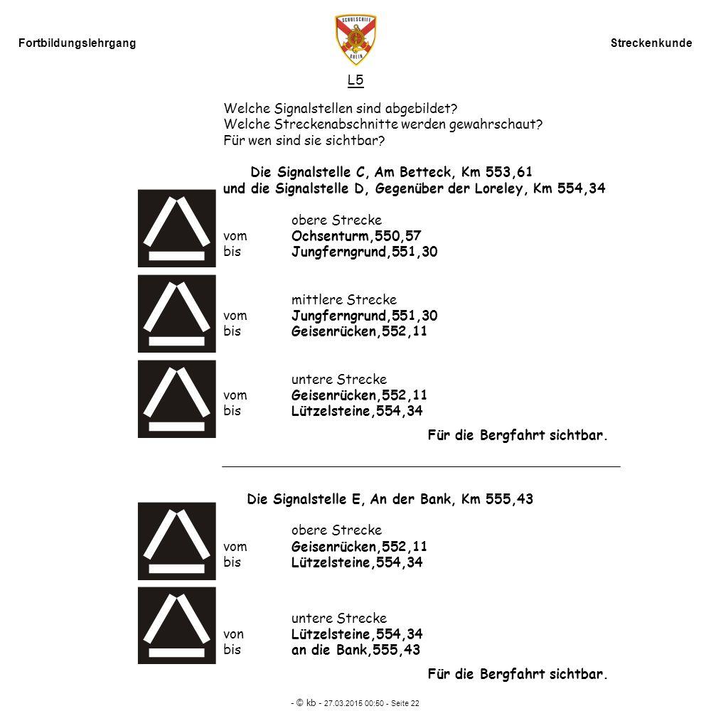 Fortbildungslehrgang Streckenkunde - © kb - 27.03.2015 00:52 - Seite 22 L5 Welche Signalstellen sind abgebildet? Welche Streckenabschnitte werden gewa