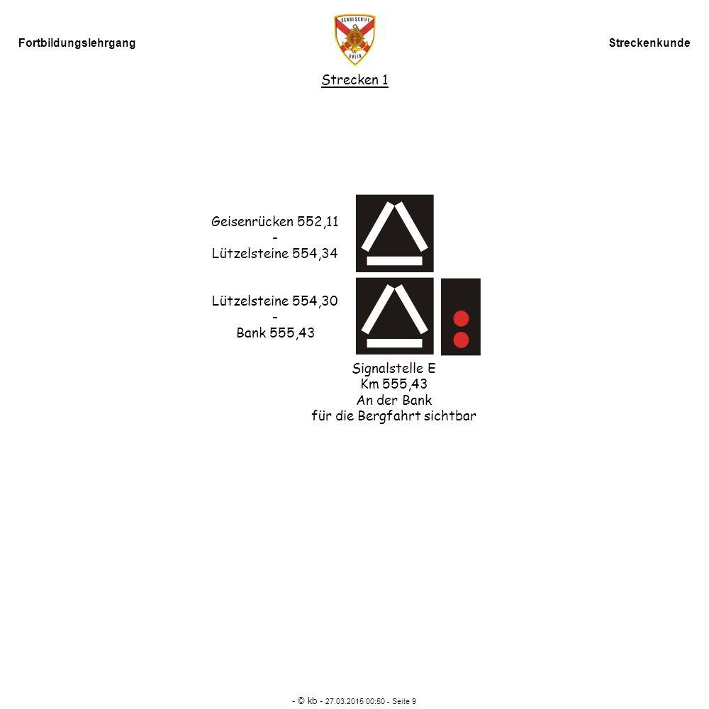 Fortbildungslehrgang Streckenkunde - © kb - 27.03.2015 00:52 - Seite 9 Strecken 1 Signalstelle E Km 555,43 An der Bank für die Bergfahrt sichtbar Geis