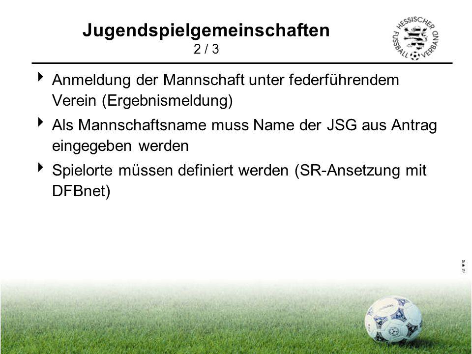 Seite 19  Anmeldung der Mannschaft unter federführendem Verein (Ergebnismeldung)  Als Mannschaftsname muss Name der JSG aus Antrag eingegeben werden