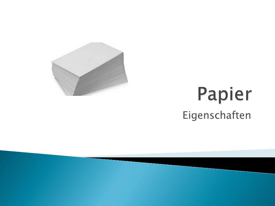 Die Reißfestigkeit des Papiers hängt von der Verleimung und der Faserlänge ab.