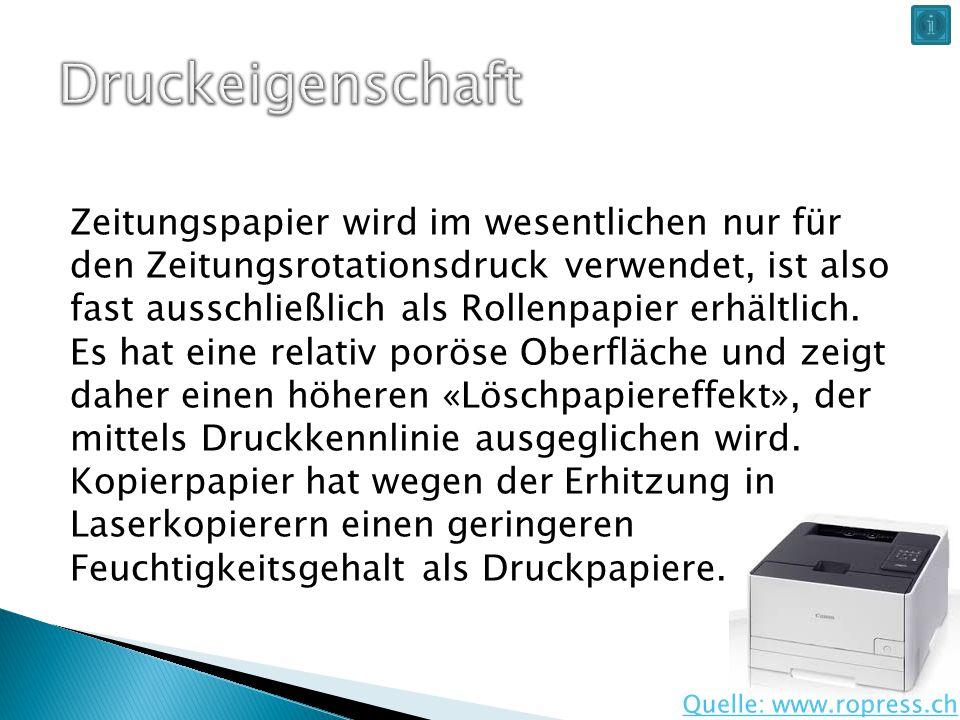 Zeitungspapier wird im wesentlichen nur für den Zeitungsrotationsdruck verwendet, ist also fast ausschließlich als Rollenpapier erhältlich.