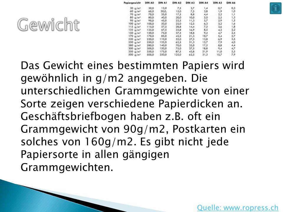 Das Gewicht eines bestimmten Papiers wird gewöhnlich in g/m2 angegeben. Die unterschiedlichen Grammgewichte von einer Sorte zeigen verschiedene Papier