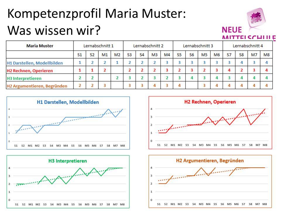 Kompetenzprofil Maria Muster: Was wissen wir?
