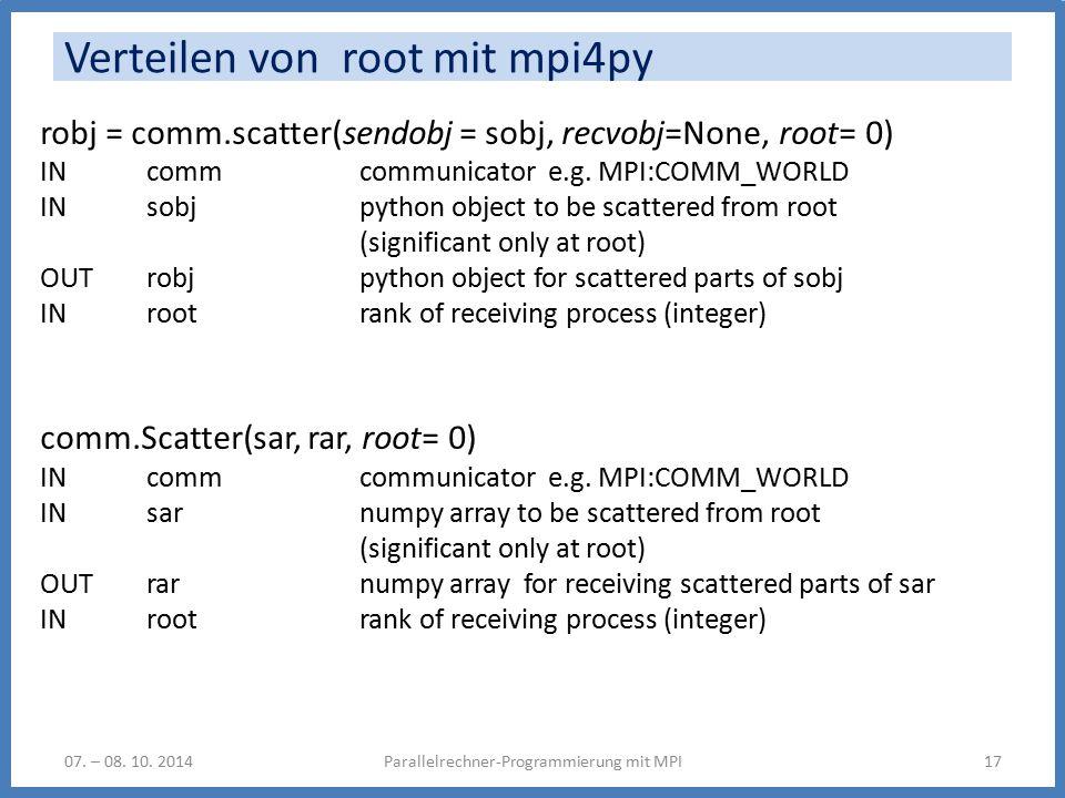 Verteilen von root mit mpi4py Parallelrechner-Programmierung mit MPI1707.