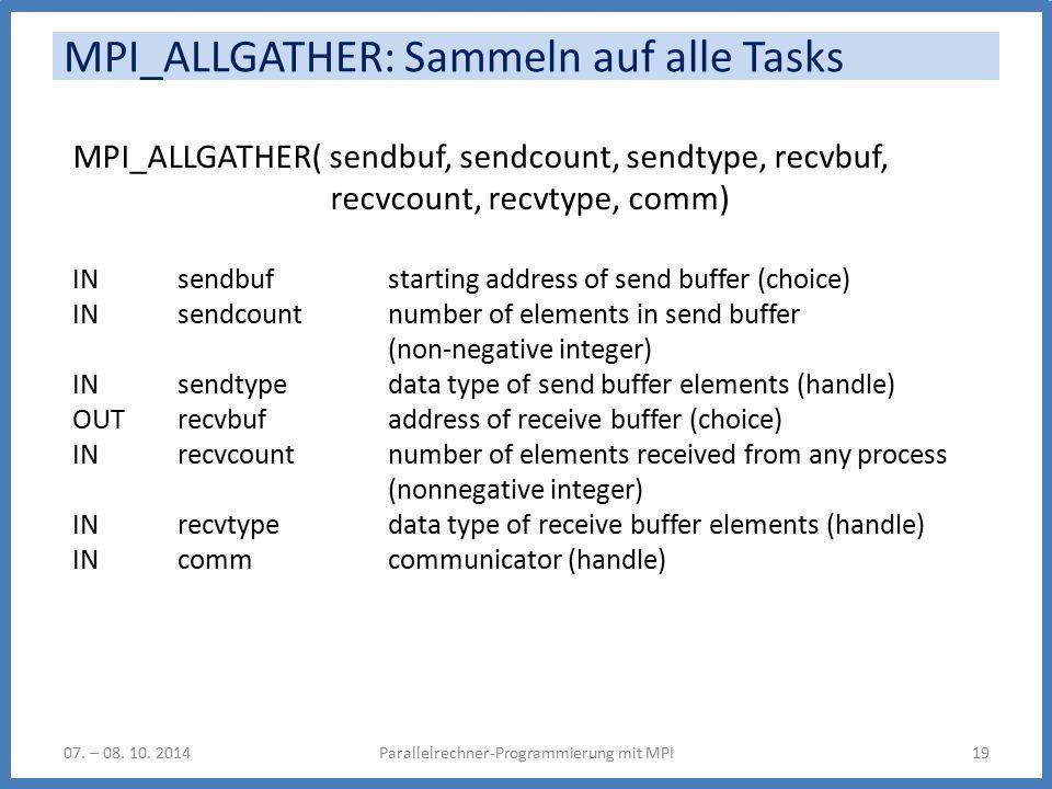 MPI_ALLGATHER: Sammeln auf alle Tasks Parallelrechner-Programmierung mit MPI1907.