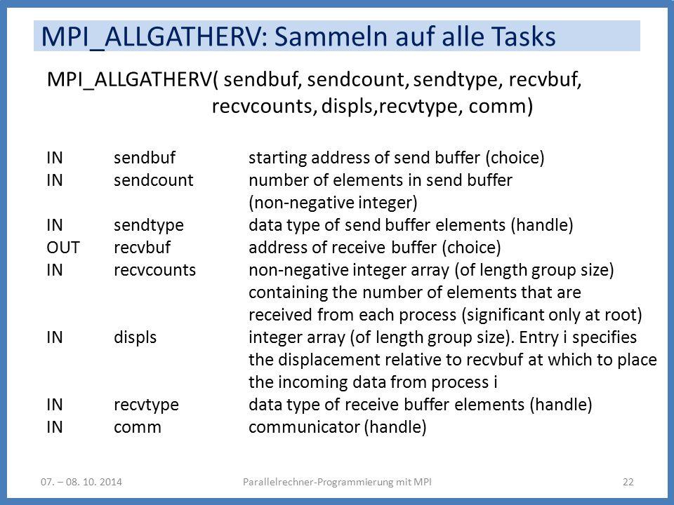 MPI_ALLGATHERV: Sammeln auf alle Tasks Parallelrechner-Programmierung mit MPI2207.