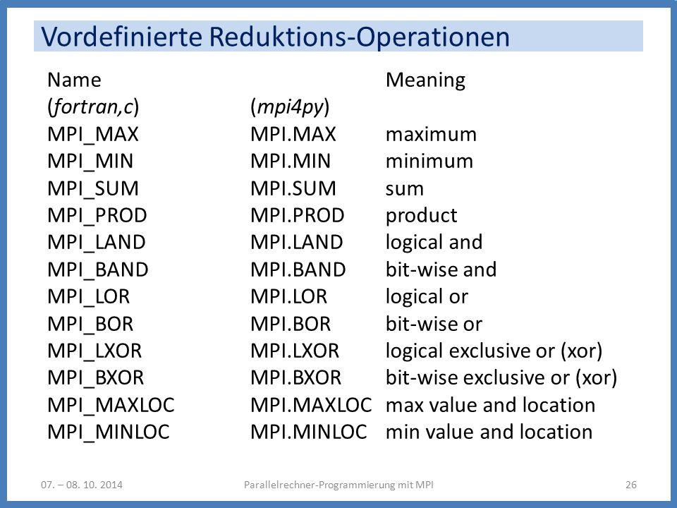 Vordefinierte Reduktions-Operationen Parallelrechner-Programmierung mit MPI2607.