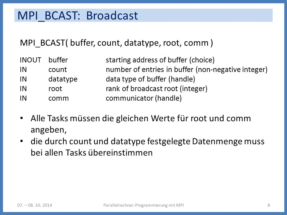 MPI_BCAST: Broadcast Parallelrechner-Programmierung mit MPI807. – 08. 10. 2014 MPI_BCAST( buffer, count, datatype, root, comm ) INOUT buffer starting
