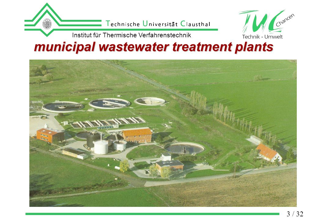 Institut für Thermische Verfahrenstechnik 3 / 32 municipal wastewater treatment plants