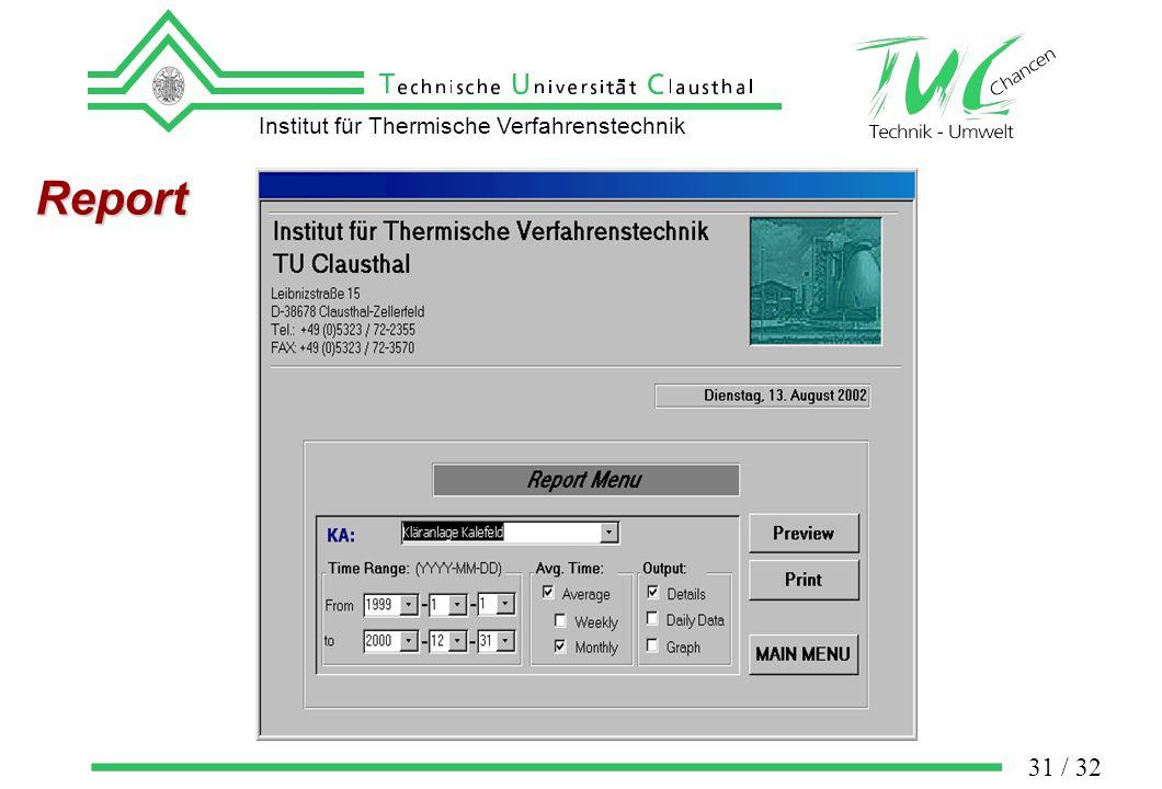 Institut für Thermische Verfahrenstechnik 31 / 32 Report
