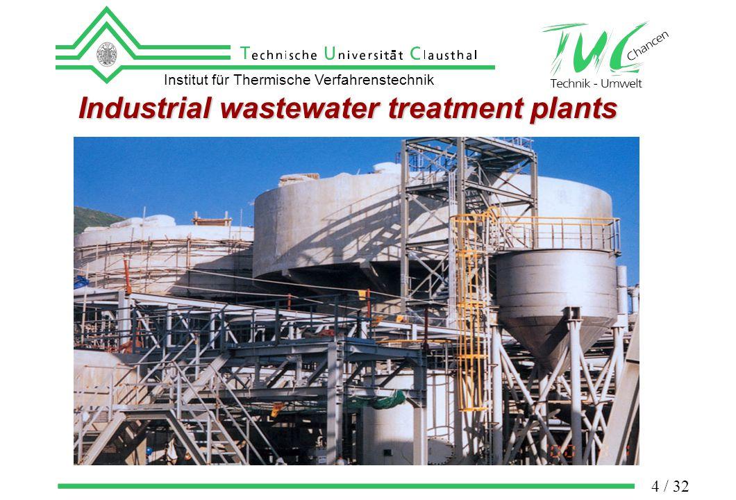 Institut für Thermische Verfahrenstechnik 4 / 32 Industrial wastewater treatment plants