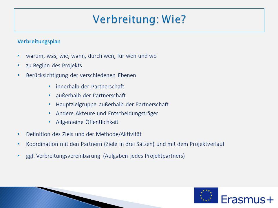 Verbreitungsplan warum, was, wie, wann, durch wen, für wen und wo zu Beginn des Projekts Berücksichtigung der verschiedenen Ebenen innerhalb der Partn