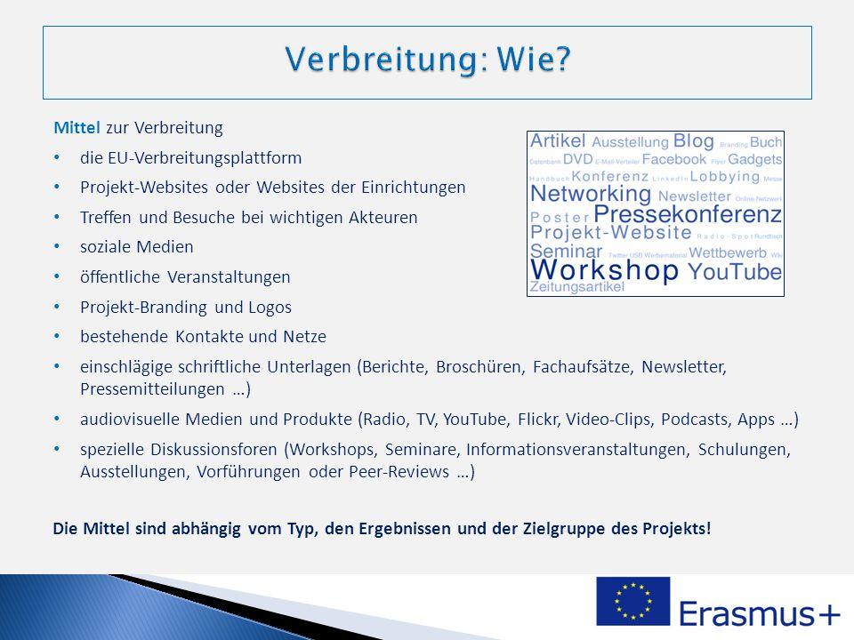 Mittel zur Verbreitung die EU-Verbreitungsplattform Projekt-Websites oder Websites der Einrichtungen Treffen und Besuche bei wichtigen Akteuren sozial
