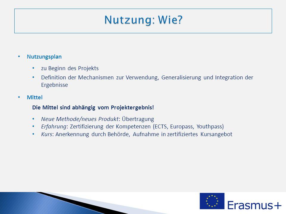 Nutzungsplan zu Beginn des Projekts Definition der Mechanismen zur Verwendung, Generalisierung und Integration der Ergebnisse Mittel Die Mittel sind a