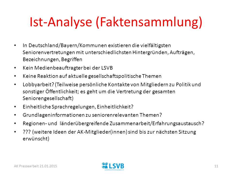 Ist-Analyse (Faktensammlung) In Deutschland/Bayern/Kommunen existieren die vielfältigsten Seniorenvertretungen mit unterschiedlichsten Hintergründen,