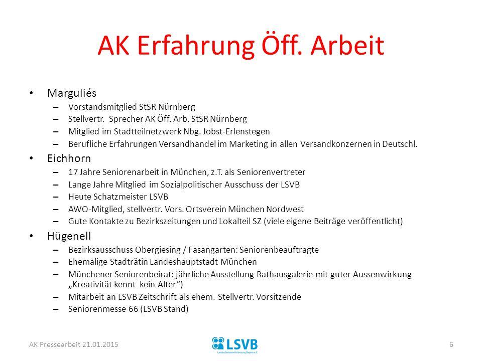 AK Erfahrung Öff. Arbeit Marguliés – Vorstandsmitglied StSR Nürnberg – Stellvertr. Sprecher AK Öff. Arb. StSR Nürnberg – Mitglied im Stadtteilnetzwerk