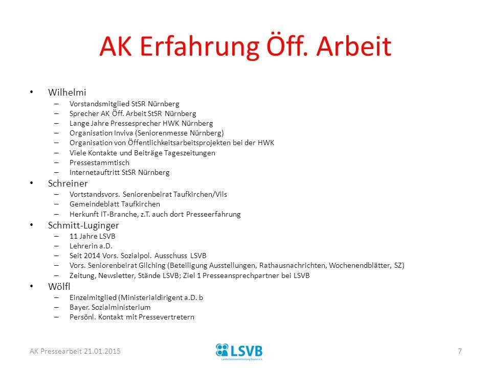 AK Erfahrung Öff. Arbeit Wilhelmi – Vorstandsmitglied StSR Nürnberg – Sprecher AK Öff. Arbeit StSR Nürnberg – Lange Jahre Pressesprecher HWK Nürnberg