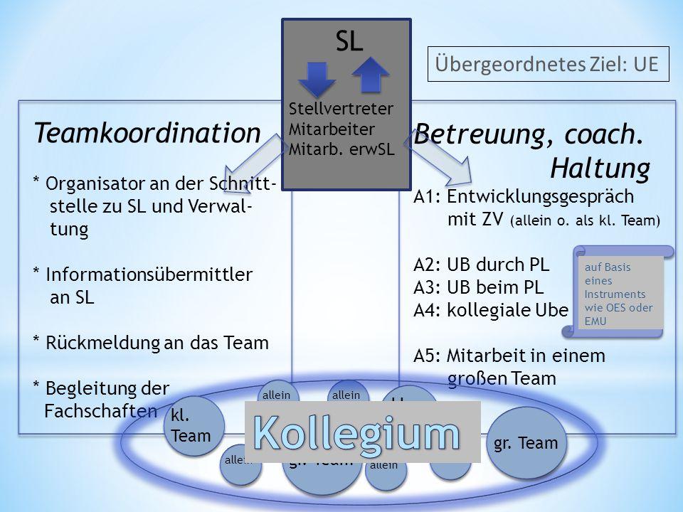 Teamkoordination * Organisator an der Schnitt- stelle zu SL und Verwal- tung * Informationsübermittler an SL * Rückmeldung an das Team * Begleitung de