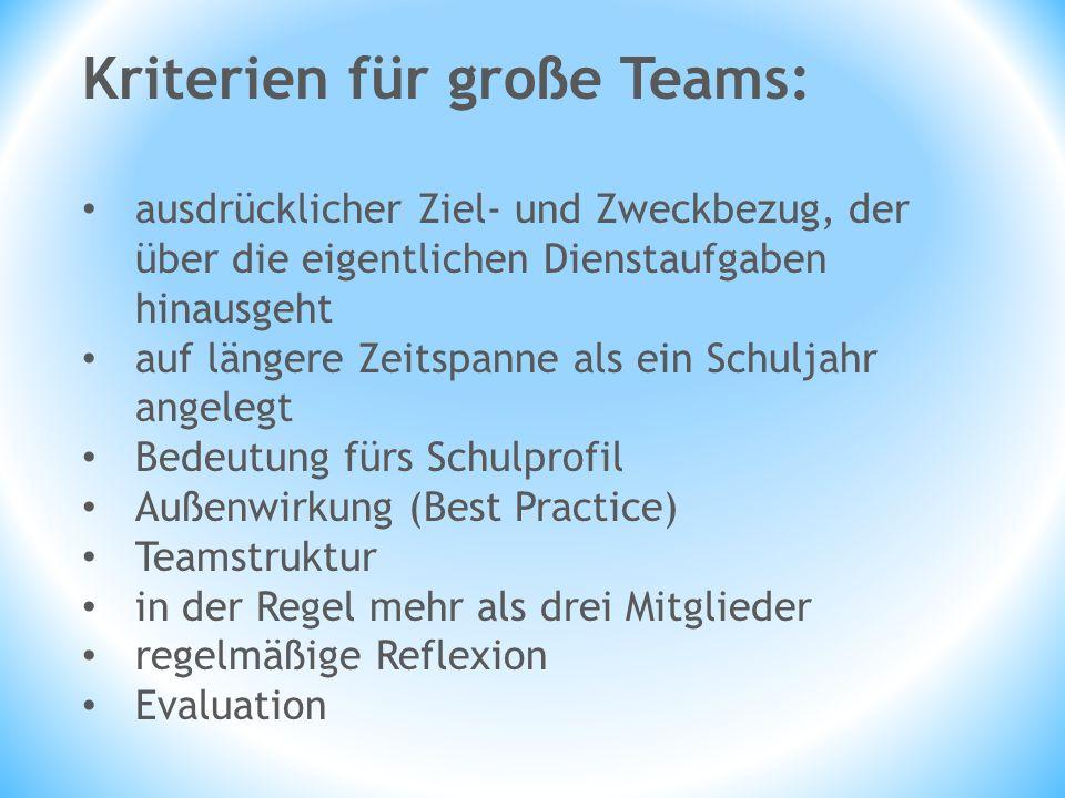 Kriterien für große Teams: ausdrücklicher Ziel- und Zweckbezug, der über die eigentlichen Dienstaufgaben hinausgeht auf längere Zeitspanne als ein Sch