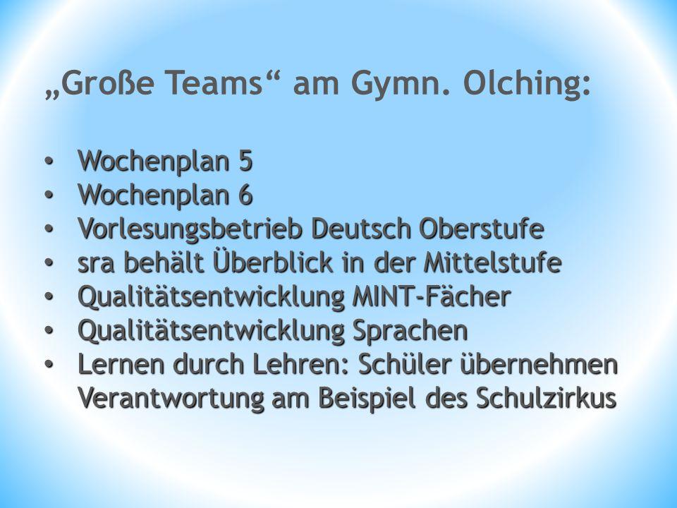"""""""Große Teams"""" am Gymn. Olching: Wochenplan 5 Wochenplan 5 Wochenplan 6 Wochenplan 6 Vorlesungsbetrieb Deutsch Oberstufe Vorlesungsbetrieb Deutsch Ober"""
